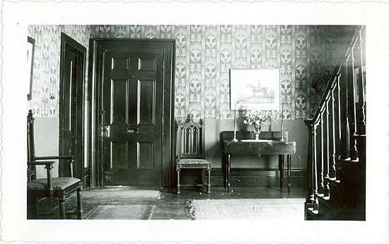 The hallway of the old rectory on the former grounds of Trinity College School, Weston, Ontario (the school was moved to Port Hope, Ontario in 1868). During William Osler's time at the school from 1866 to 1867, the rectory was occupied by William Arthur Johnson, the school's founder. Osler would later refer to Johnson as one of his most influential teachers. This photo was taken in 1940 by William Colgate, who was then living in the rectory.