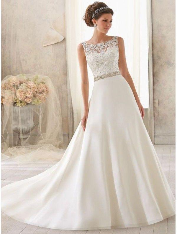 Satin Bateau Neckline A-line Wedding Dress with Lace Appliqued Illusion Bodice - Bridal Gowns - goodcheapweddingdress