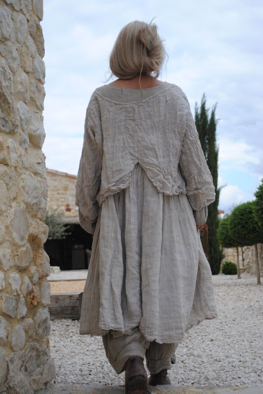 Layered blouse over dress atop full length bloomer type pants, all in lovely, flowy, gauzy material.