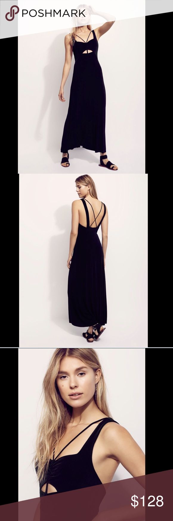 "Free People Black Slinky Knit Body CutOut  Dress L Free People Black Slinky Knit Body Skimming Cut Out Stretch Maxi Dress retro inspired slinky body skimming stretch ribbed fabric   maxi features a cutout at the bust with adjustable smocked tie New Without Tags  *  Size:  Medium Retail Price:  $148.00  * there is a line on the tag to prevent store return MM  32"" around bust relaxed 30"" around high waist relaxed 55"" long Free People Dresses Maxi"
