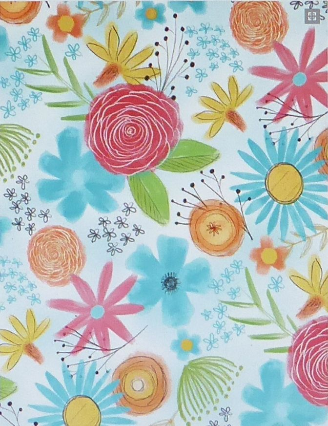 Believe You Can~Flowers All Over~Cotton Fabric, Quilt, Home Decor~Wilmington Prints~Fast Shipping,N499