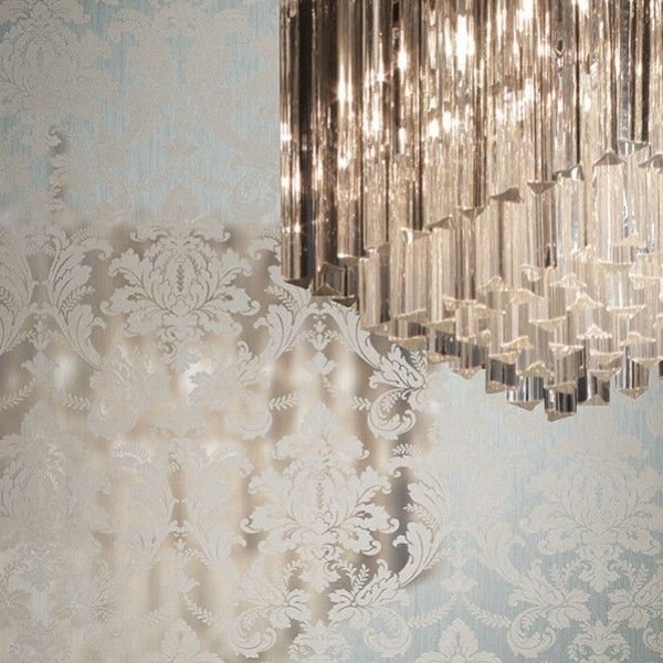 Tapeta srebrna z połyskiem i wzorem #damask #glamour