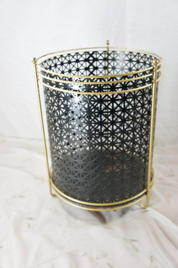mid century modern rubbish bin perforated black metal- turn that over and make it a light!!