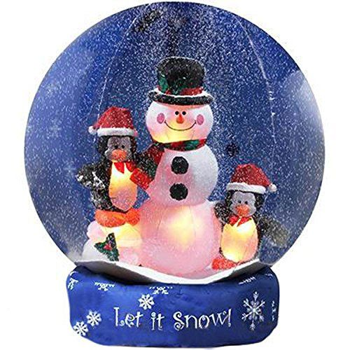 8′ Airblown Inflatable Snowman and Penguins Christmas Lawn Decoration