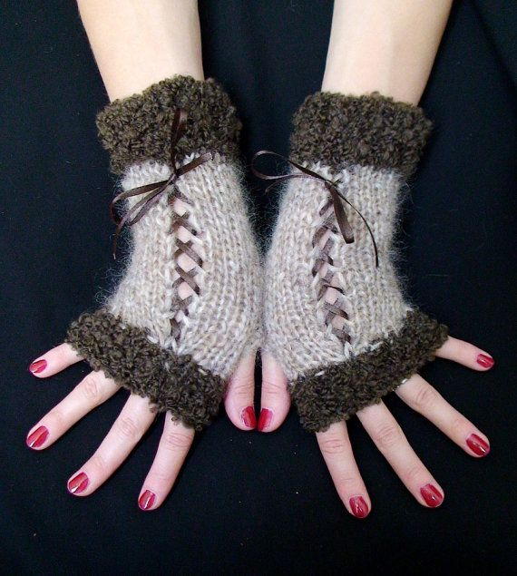 Fingerless Gloves Light/ Dark  Brown/ Taupe Corset wrist warmers with Satin Ribbons Victorian Style on Etsy, $30.00