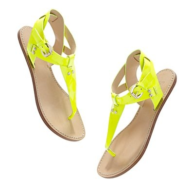 satisfying a girl's neon fix: belle by sigerson morrison neon sandals on madewell