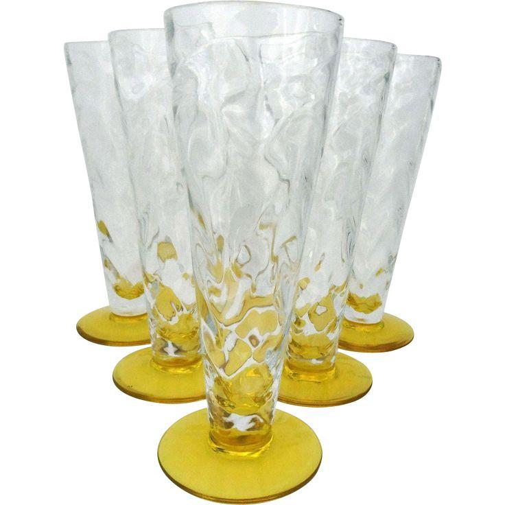 Set of six Thomas Webb Venetian ripple glasses - 1936-1949 - Vintage lemon yellow drinking glasses - British glass www.rubylane.com @rubylanecom Home Decor and more.