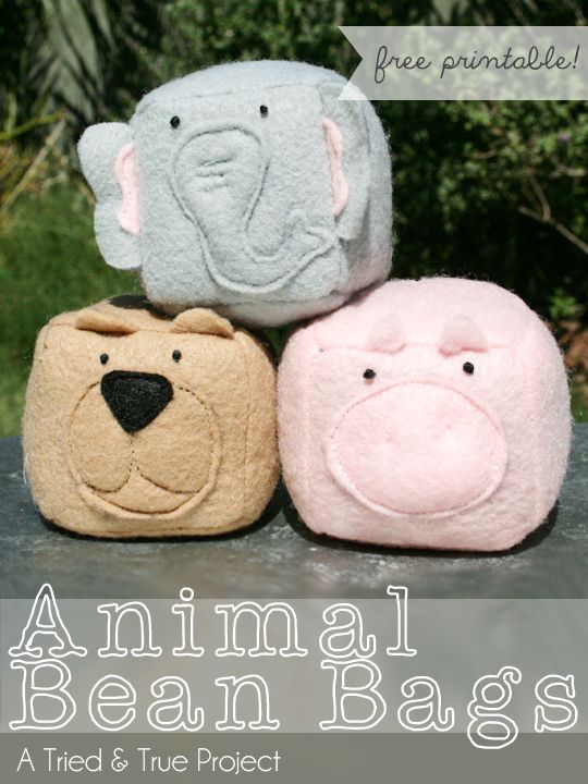 Animal Bean Bags Tutorial & Free Printable | A Tried & True Project - I think large ones would be neat