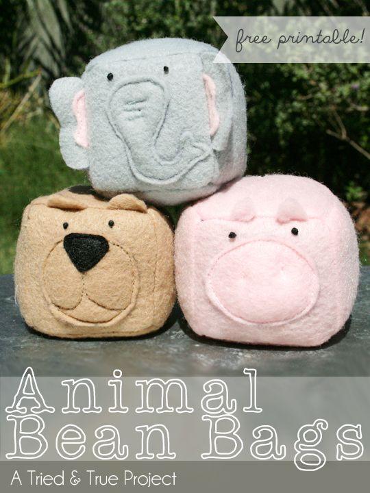 Animal Bean Bags Tutorial & Free Printable Pattern. Simple- cute...like it!