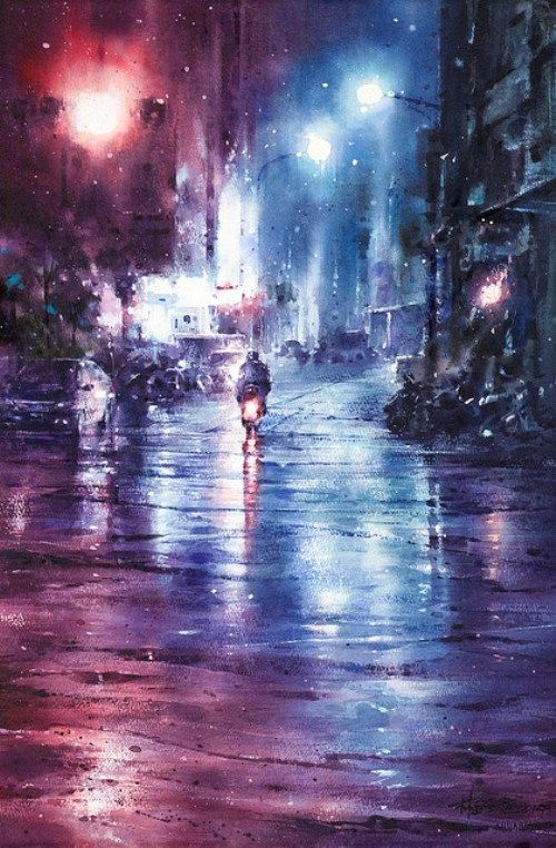 Rainy cityscape. Watercolor painting by Chinese artist Ching-Che Lin