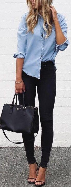 #fall #trending #outfits | Blue Denim + Black Denim