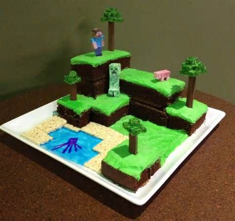 Minecraft cake ... made with brownies, rice krispie treats (maybe kitkats with rice krispies for the trees). not sure what Steve and the creeper are made of)
