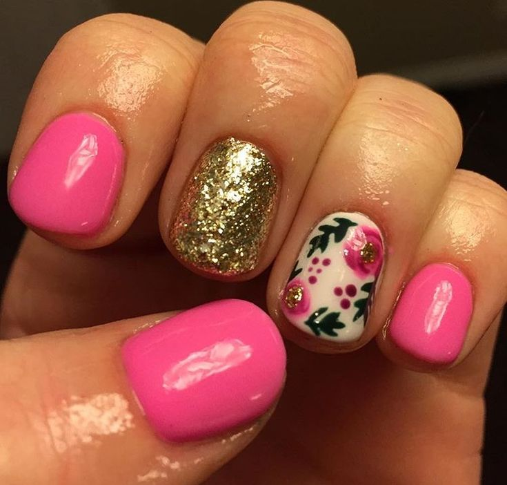 Pink gold roses green floral