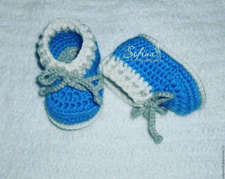 Купить Пинетки мокасы для новорожденных, пинетки для фотосессии - комбинированный, пинетки, пинетки моксы, пинетки вязаные