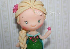 Topo de bolo Elsa com cerca de 14 cm. mayumibiscuit@gmail.com