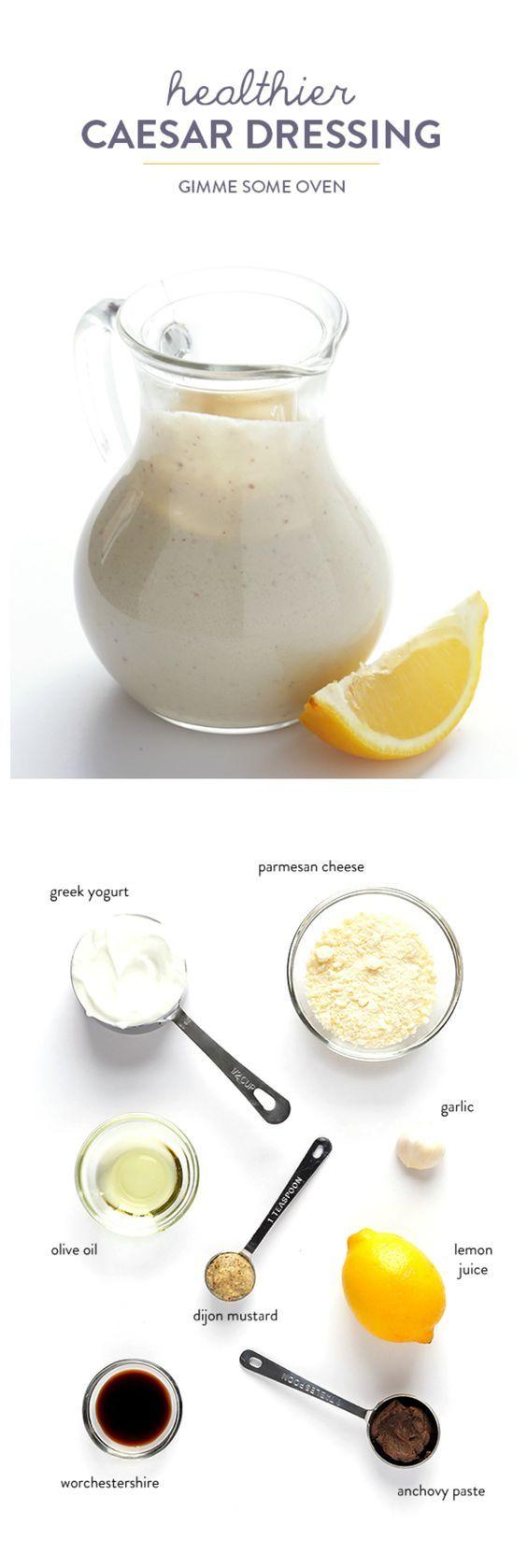 Cesar Dressing einfach, gesund und leicht selber machen *** Greek Yogurt Caesar Dressing -- quick and easy to make, and much lighter than the original