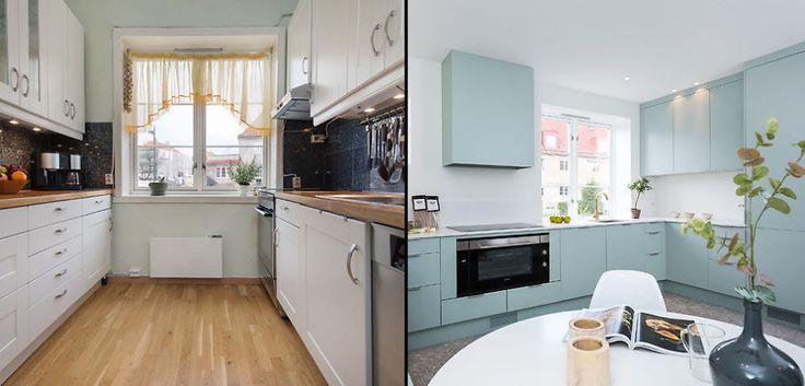 <b>FØR OG ETTER:</b> Kjøkkenet i leiligheten i Ullevål Hageby før og etter oppussing. Rogstad og Stensrud endret planløsningene i leiligheten når de pusset opp.