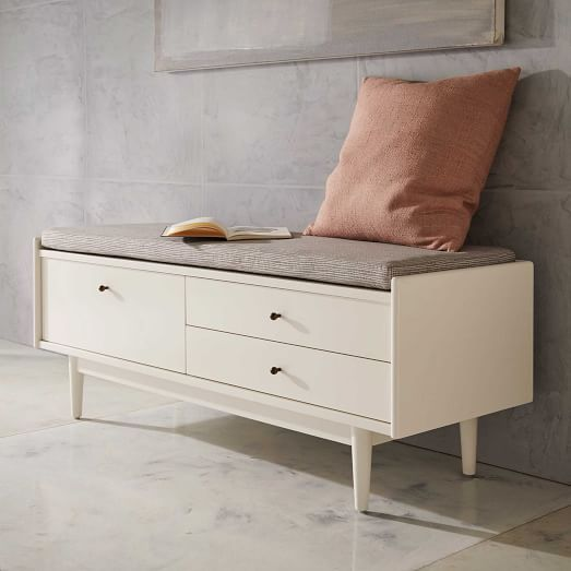 Modern Entryway Benches: Modern White Storage And Entryway Bench With Drawers