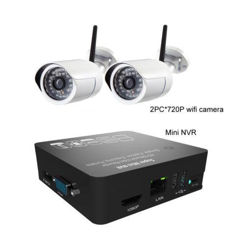 CCTV Camera |MINI NVR security kits,2pcs 720P ONVIF WIFI IP bullet camera + 1pc 4ch NVR