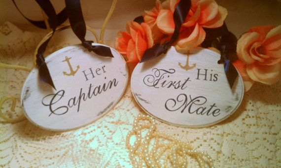 Nautical Wedding Signs Captain & First Mate Navy Blue Wedding Signs Anchor Wedding Decor