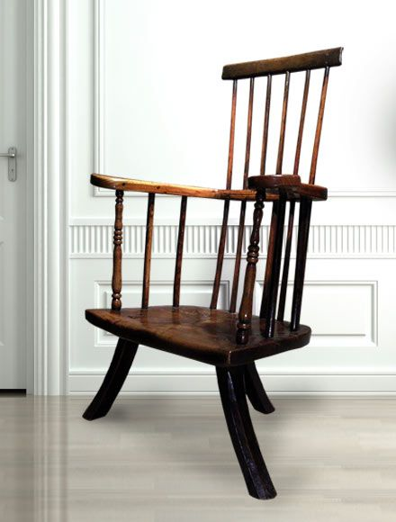 Stick chair in ash from Montgomeryshire circa 1760 It has delicate turned spindles and large sweeping arms ending in wide hand-rests The front spindles have well-worn fine turnings and the large seat has a beautiful grain All is finally supported on three naturally curving legs Antique Stick Chair Spindle Chair Stick chair in ash from Montgomeryshire circa 1760 It has delicate turned spindles and large sweeping arms ending in wide hand-rests The front spindles have well-worn fine turnings…
