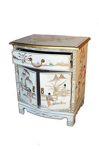 Oriental Furniture White Mother Of Pearl Cabinet Chinese Lacquered Fengshui Oriental Furniture