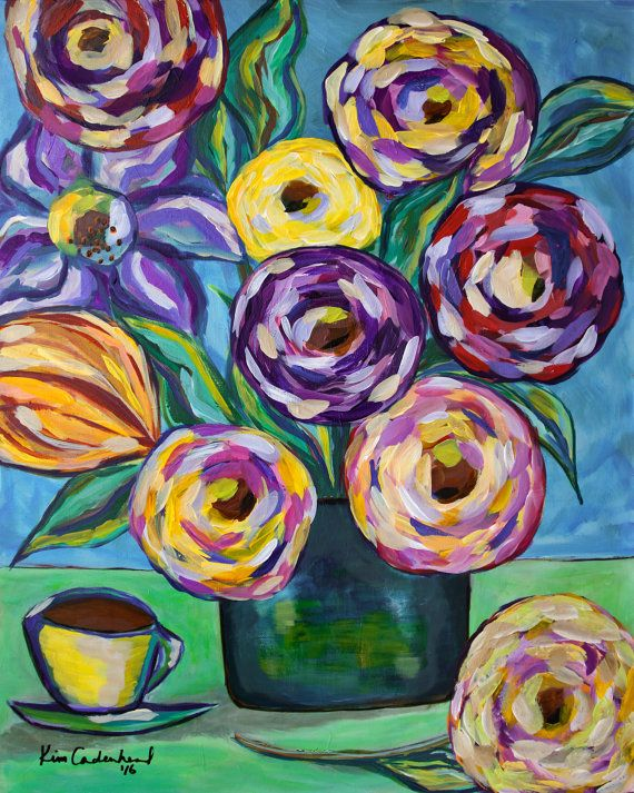 Flowers and Coffee Original Acrylic Painting by CrookedfingerArt