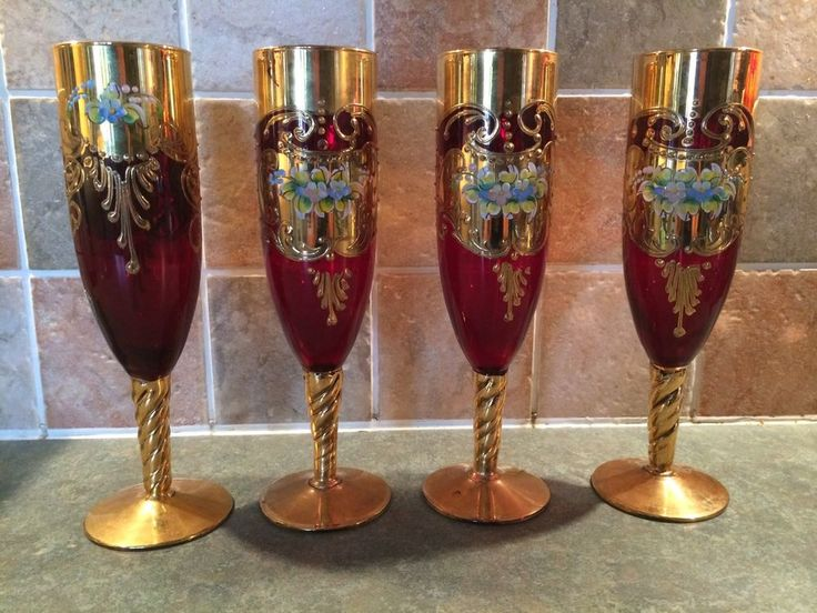 Antique Red Wine Glasses Gilt Gold Murano Venetian Bohemia Enameled Cranberry Bohemian Glass
