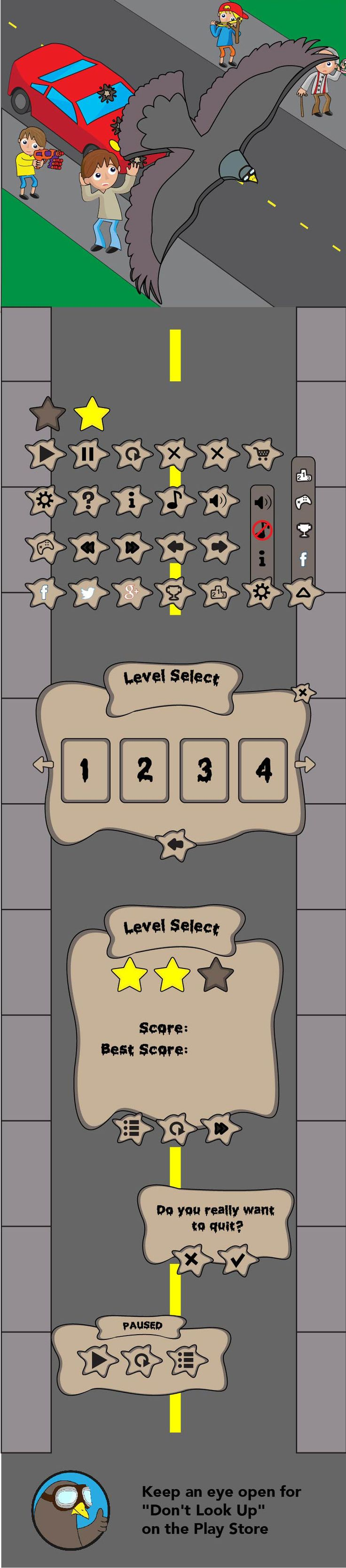 "UI Design for Baynecorp's upcoming game, ""Don't Look Up"".  www.jonnypye.com www.baynecorp.com #GameDesign #UI #VideoGames"
