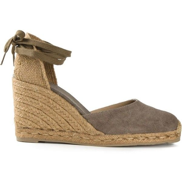 Castañer Carina Espadrilles ($94) ❤ liked on Polyvore featuring shoes, sandals, grey, espadrilles shoes, gray sandals, grey leather shoes, leather sandals and genuine leather shoes