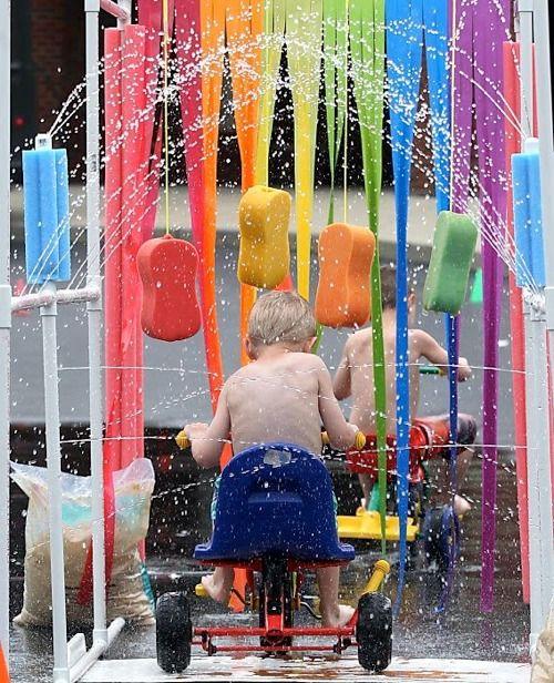 Genius summer fun: A kiddie car wash...   LOVE the colors...Ideas, Water Plays, Birthday Parties, For Kids, Summer Parties, Kids Cars, Summer Fun, Pvc Pipe, Cars Wash