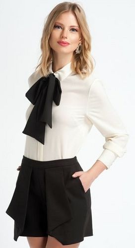 8c60244920b Dressed Formal In White Blouse Black Bow And Black Skirt