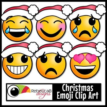 This set of Christmas Emoji Clip Art contains 20 images.  10 colored and 10 black and white.  Each image is approximately 3x3 inches in size and can be resized up or down.  Each Emoji is wearing a Santa hat to give this set a Christmas theme.Import these clip art images into your editing program, such as PowerPoint, to create back to school posters, classroom banners/decor, posters, fun activities, worksheets, lesson plans and other teaching resources.