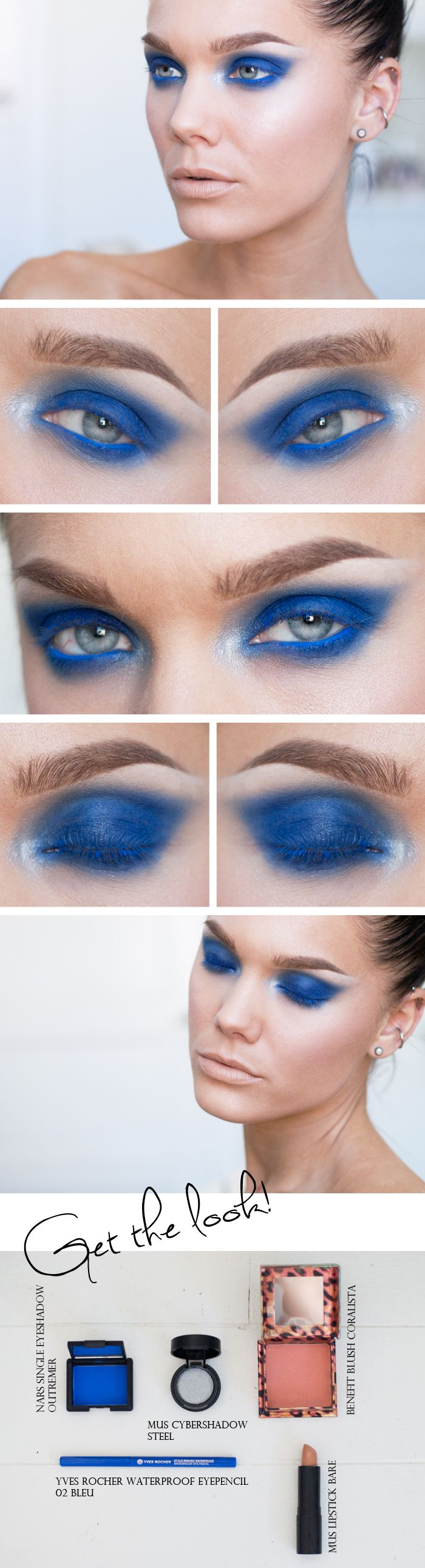 """Today's Look: """"Outremer"""" -Linda Hallberg ( the boldest of blues, shadow, liner and lashes) 09/07/13"""