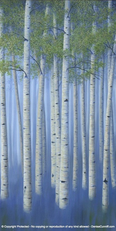 Modern birch tree art (canvas reproduction of original painting). (This is the third panel of 4). Huge landscape artwork for green & blue bedroom, dining area, living room or office decor. Art by Denise Cunniff - ArtFromDenise.com