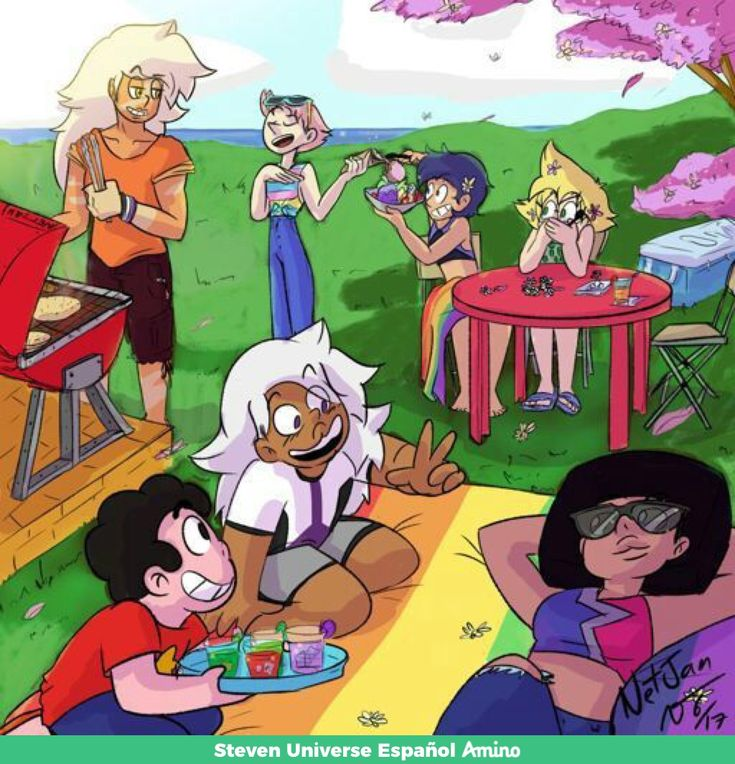 I love how they used the different pride flags in this. Garnet's shirt is the bisexual flag, amethyst has the ace flag, lapis has the gay flag and perl has the pansexual flag