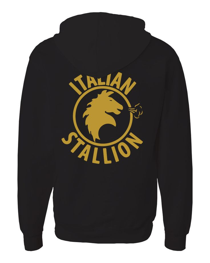 Rocky inspired Italian Stallion Black and Gold Zip Up Unisex Adult Hoodie by LoveGlitzShop on Etsy