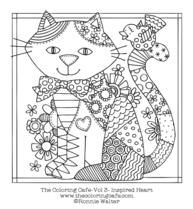 Free adult coloring downloads for grown ups to color. These PDF coloring downloads are from the Coloring Cafe books and extras by artist Ronnie Walter.