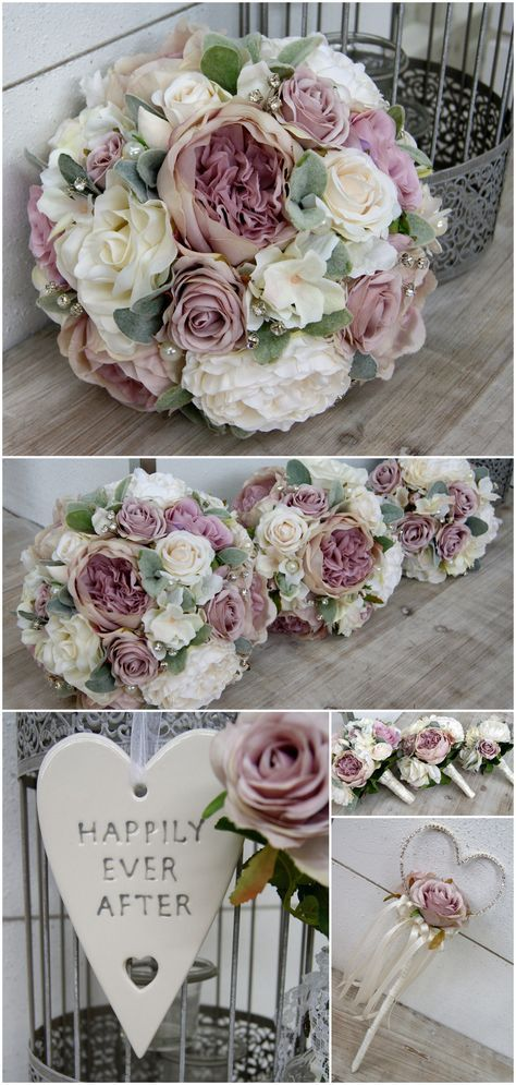Mauve & White Wedding Flowers, a Delicate Scheme with Roses and Soft Green Lambs Ear Foliage - Artificial Flowers