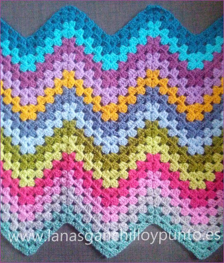 Vistoso Patrón Manta Crochet Ondulación Granny Colección - Ideas de ...
