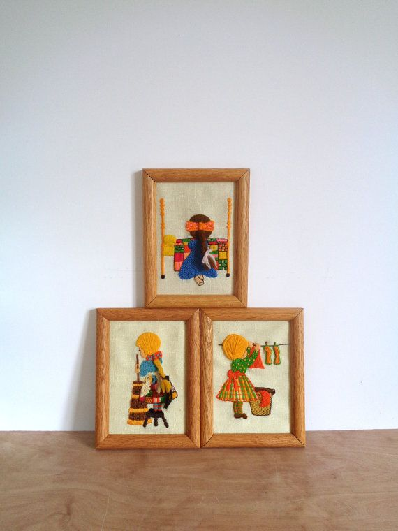 Vintage Crewel Hand Stitch Framed Pictures of by WhiteElephantCo, $30.00. Visit our store @ whiteelephantco.etsy.com