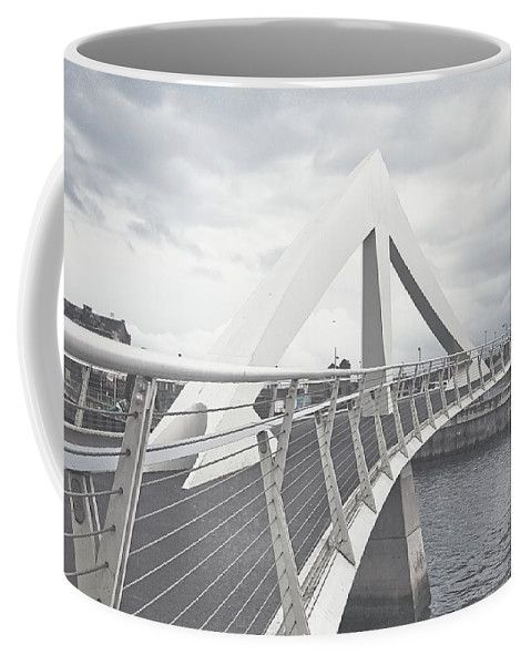 Jenny Rainbow Fine Art Photography Coffee Mug featuring the photograph Glasgow Squiggly Bridge. Vintage Collection by Jenny Rainbow