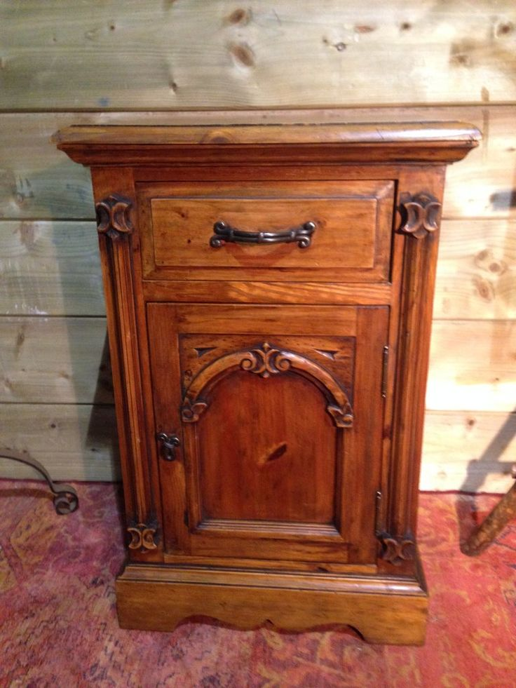 211.....Vintage Gothic Style Bedside / Pine