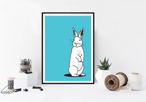 Woodland Rabbit Illustration / poster / home decor / kids bedroom / Linear drawing / Turquoise  Perfect for home decor, Easter present or for animal admirers! Printed on quality Matt A5, A4 or A3 paper. ----SIZE DETAILS ---- A5 - 148 x 210 mm, 5.8 x 8.3 in A4 - 210 x 297 mm, 8.3 x 11.7 in A3 - 297 x 420 mm, 11.7 x 16.5 in  -//- I personally gift wrap every order -//- Shipped in a heavy duty board backed mailer or tube - depending on size of print(s...
