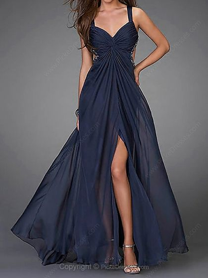 A-line Straps Ankle-length Chiffon Beading Prom Dresses -CAD$142.89