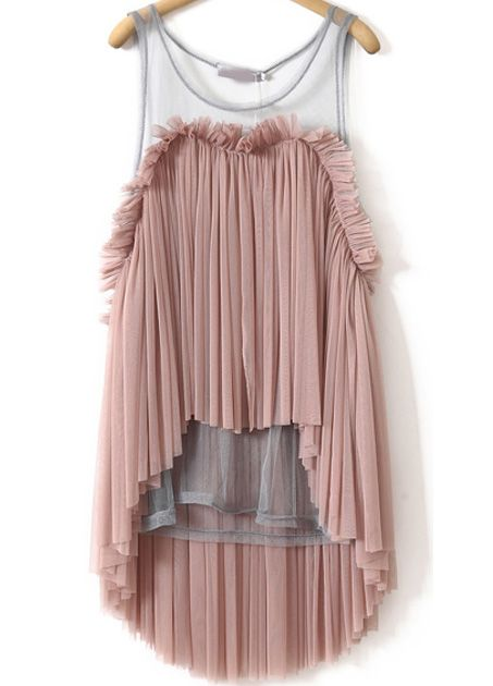 Pink Sleeveless Contrast Sheer Mesh Yoke Pleated Top - abaday.com