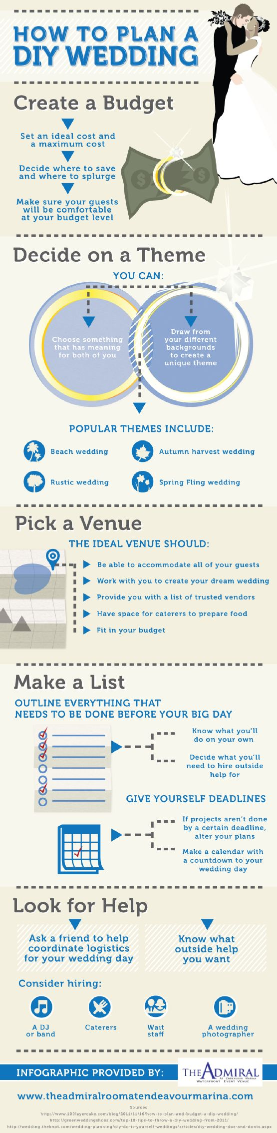 Planning a DIY wedding may seem like a challenge, but it doesn't have to be! All you need is a little organization and the tips in this infographic from a top wedding venue on Clear Lake, Texas, and you can enjoy a beautiful ceremony.