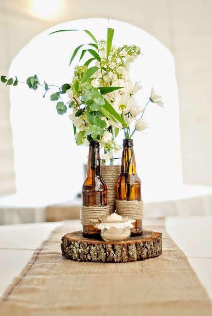 centro de mesa botellas cerveza                                                                                                                                                                                 Más
