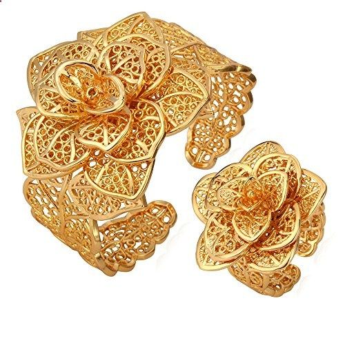U7 18K Gold Plated Floral Jewelry Set Gold-tone Cuff Bangle & Ring Set For Women. Read more description on the website.