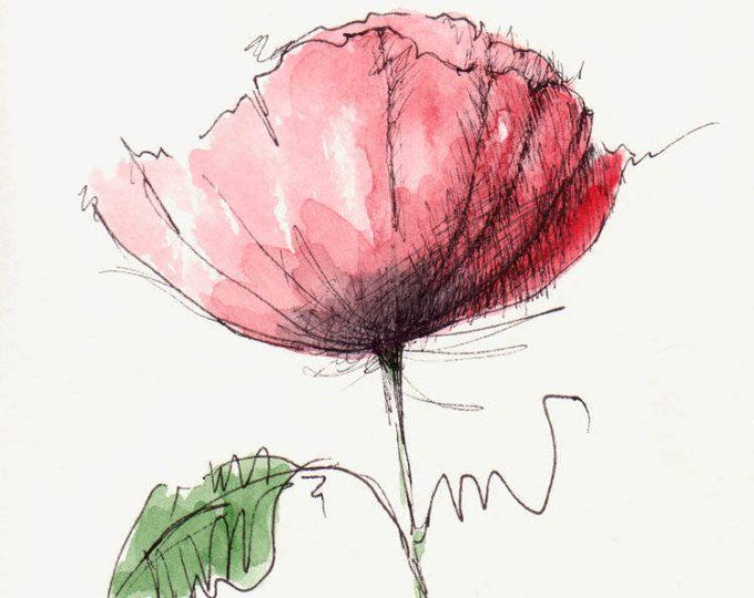 Original Aquarell Mohn Blume Wasser Farbe Von Hand Bemalt Kunst